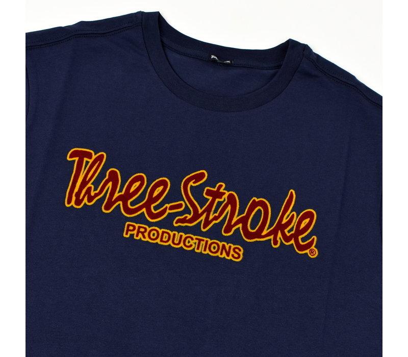 Three Stroke Productions classic flock print t-shirt Navy