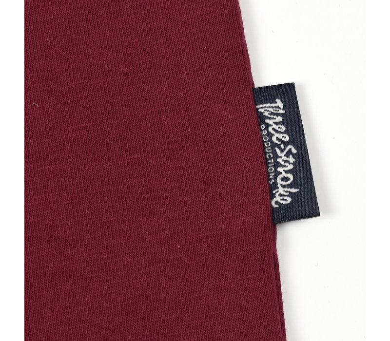 Three Stroke Productions style identity respect t-shirt Burgundy