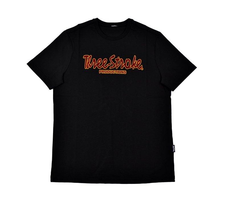 Three Stroke Productions classic flock print t-shirt Black