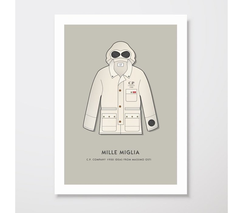 Creative Juice MCR A3 print CP Company Mille Milia 1988 goggle jacket beige