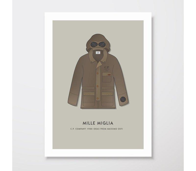 Creative Juice MCR A3 print CP Company Mille Milia 1988 goggle jacket brown