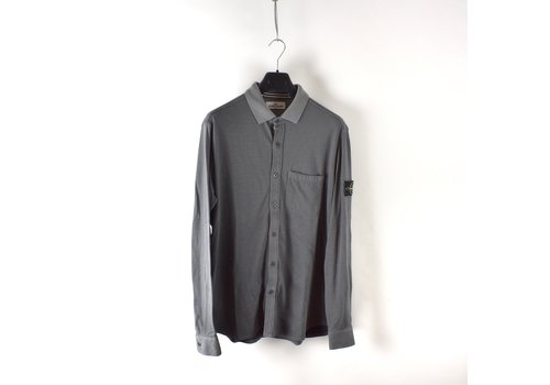 Stone Island Stone Island grey pique cotton long sleeve shirt XL