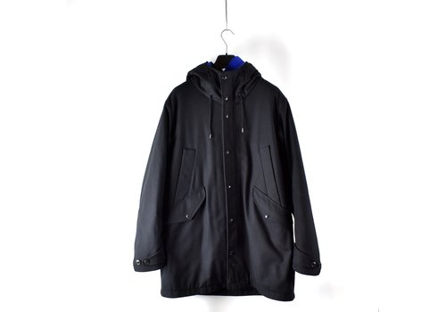 C.P. Company C.P. Company black b drill wool hooded parka 54