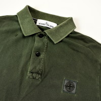 Stone Island green cotton pique short sleeve patch program polo shirt M