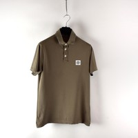 Stone Island brown cotton pique short sleeve patch program polo shirt M