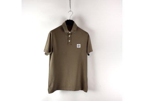 Stone Island Stone Island brown cotton pique short sleeve patch program polo shirt M