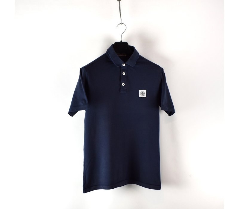 Stone Island navy cotton pique short sleeve patch program polo shirt M