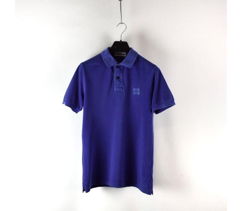Stone Island purple cotton pique short sleeve patch program polo shirt M