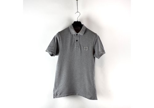 Stone Island Stone Island grey cotton pique short sleeve patch program polo shirt M