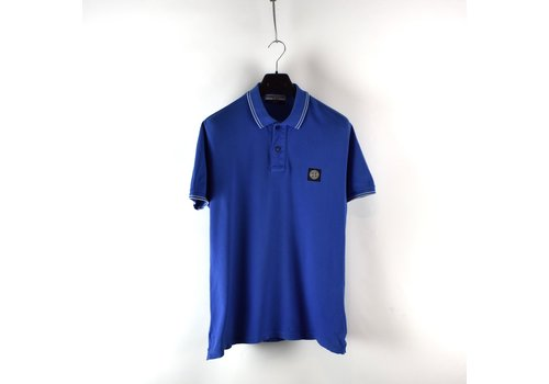 Stone Island Stone Island blue cotton pique short sleeve patch program polo shirt L