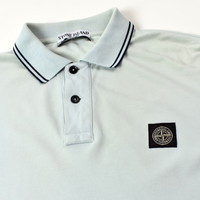 Stone Island ice blue cotton pique short sleeve patch program polo shirt L