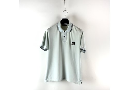 Stone Island Stone Island ice blue cotton pique short sleeve patch program polo shirt L