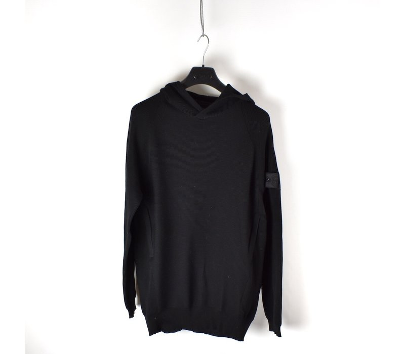 Stone Island shadow project black stretch cotton hooded knit L