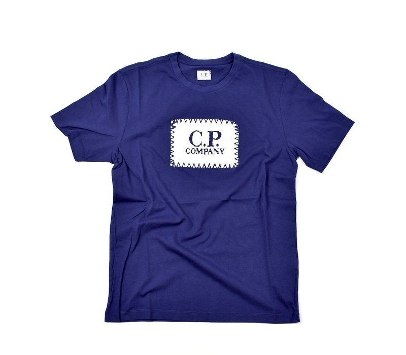 C.P. Company jersey 30/1 label print crew t-shirt Blueprint