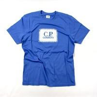 C.P. Company jersey 30/1 label print crew t-shirt Riviera Blue