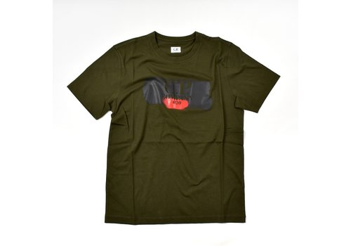C.P. Company C.P. Company jersey 30/1 brush logo print crew t-shirt Forest Night