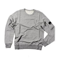 C.P. Company garment dyed light fleece lens crew sweatshirt Grey Marl