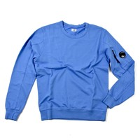 C.P. Company garment dyed light fleece lens crew sweatshirt Riviera Blue