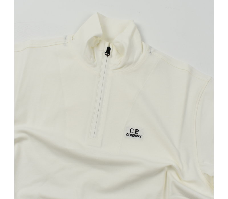 C.P. Company stretch piquet ss zip polo shirt Gauze White