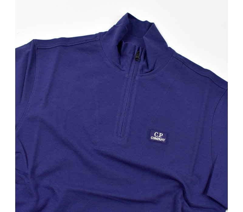 C.P. Company stretch piquet ss zip polo shirt Blueprint