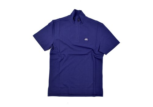 C.P. Company C.P. Company stretch piquet ss zip polo shirt Blueprint