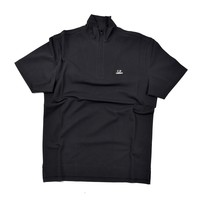 C.P. Company stretch piquet ss zip polo shirt Black