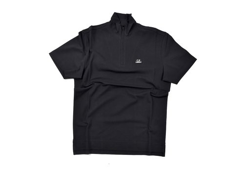 C.P. Company C.P. Company stretch piquet ss zip polo shirt Black