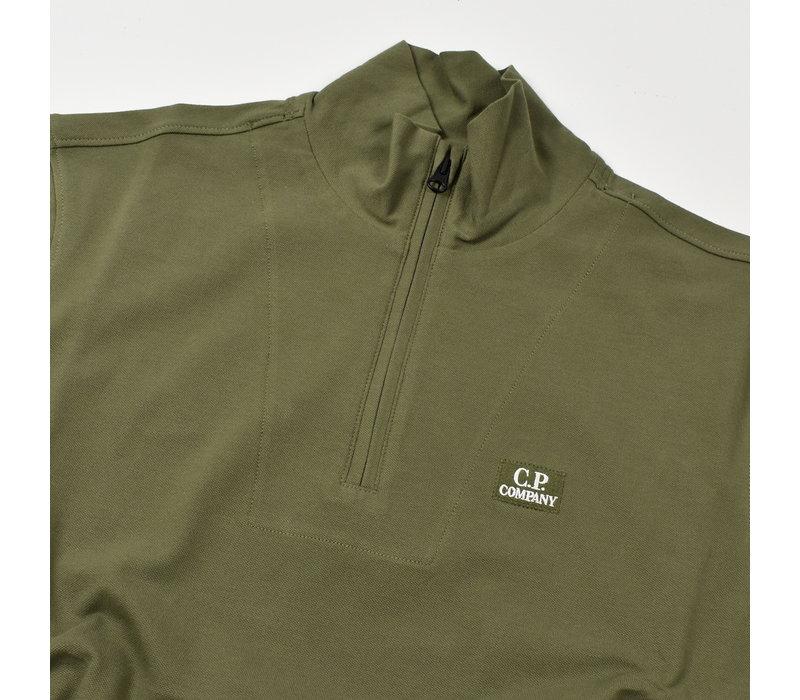 C.P. Company stretch piquet ss zip polo shirt Burnt Olive