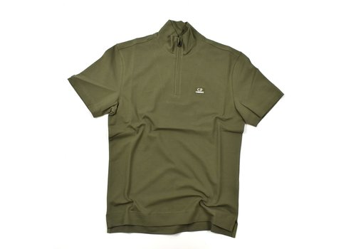 C.P. Company C.P. Company stretch piquet ss zip polo shirt Burnt Olive