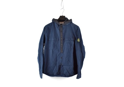 Stone Island Stone Island blue brushed cotton nylon hooded long sleeve shirt S