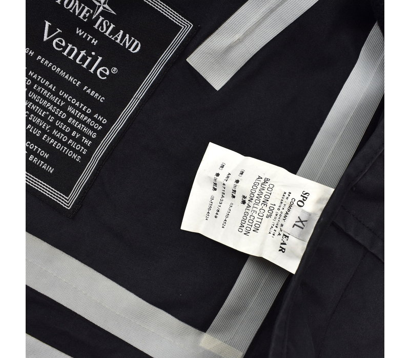 Stone Island black ventile jacket with detachable liner XL