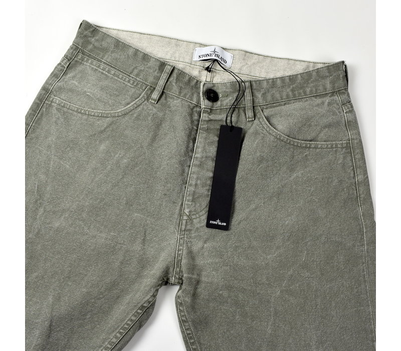 Stone Island green panama placcato re-t jeans 31