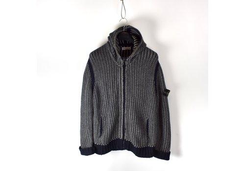 Stone Island Stone Island navy grey wool hooded full zip knit L