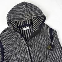 Stone Island navy grey wool hooded full zip knit L