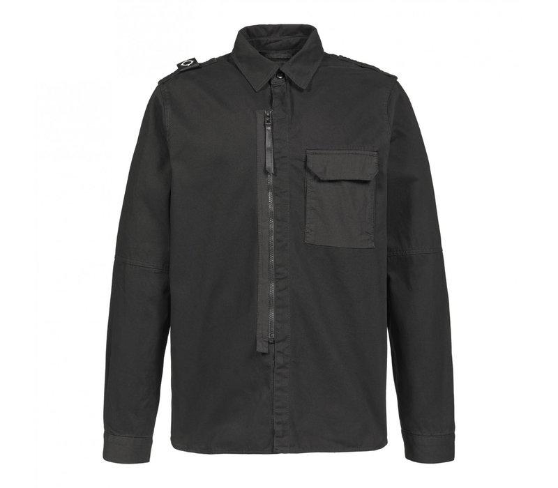 MA.STRUM zip front overshirt Jet Black