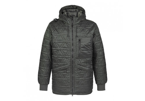 MA.STRUM MA.STRUM polygon quilt hooded jacket Oil Slick Green