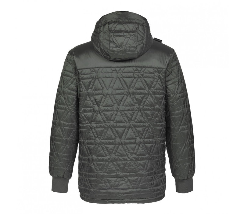 MA.STRUM polygon quilt hooded jacket Oil Slick Green