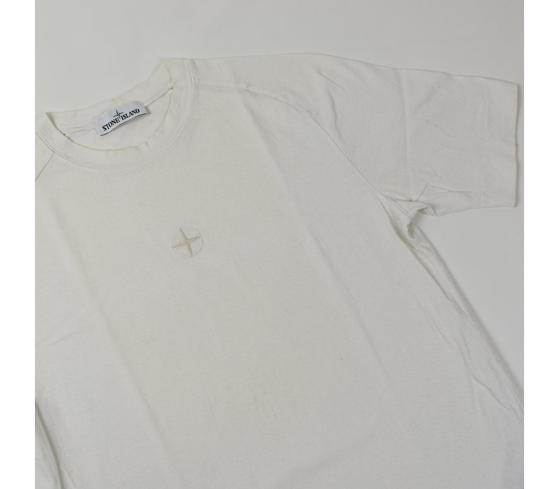 Stone Island white compass embroidery t-shirt S