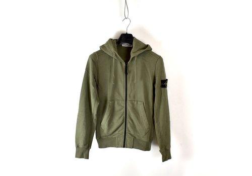 Stone Island Stone Island green hooded full zip cotton sweatshirt S