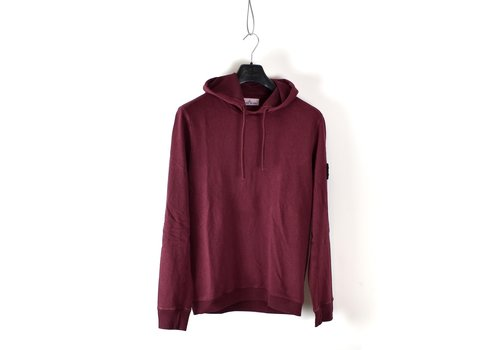 Stone Island Stone Island burgundy red hooded cotton sweatshirt M