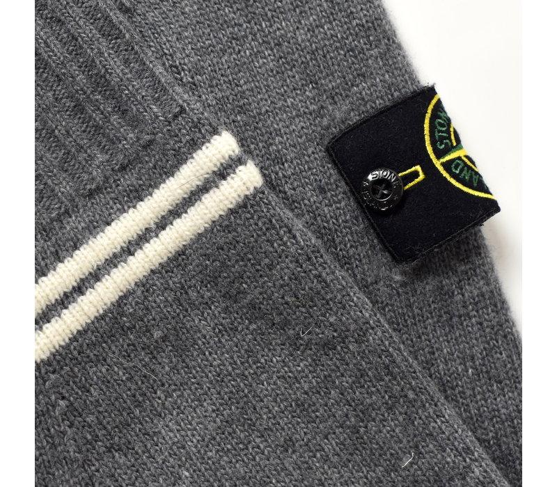 Stone Island grey hooded wool knit S