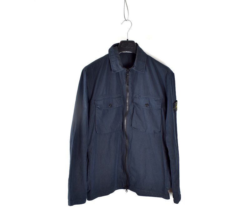 Stone Island navy cotton old effect overshirt jacket M