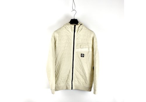 Stone Island Stone Island ivory quilted hexagonal motif hooded sweatjacket L