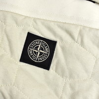 Stone Island ivory quilted hexagonal motif hooded sweatjacket L