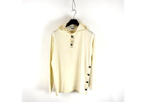 Stone Island Stone Island ivory cotton fleece hooded sweatshirt L