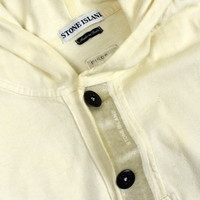 Stone Island ivory cotton fleece hooded sweatshirt L