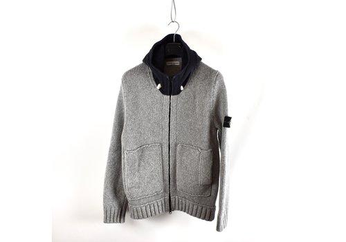 Stone Island Stone Island grey heavy wool hooded knit XL