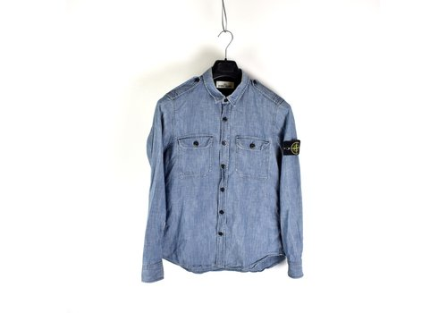Stone Island Stone Island blue chambray cotton long sleeve shirt M