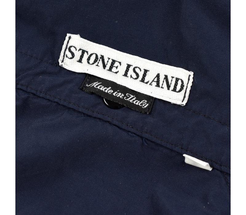 Stone Island navy parachute nylon green edge badge hooded overshirt XL