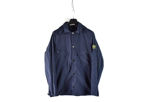 Stone Island Stone Island navy parachute nylon green edge badge hooded overshirt XL